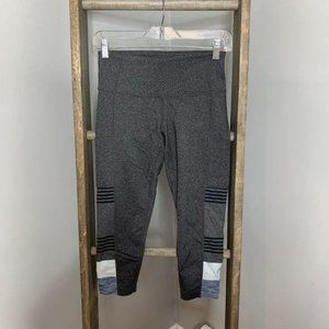 prAna Gray Stripe Crop Leggings